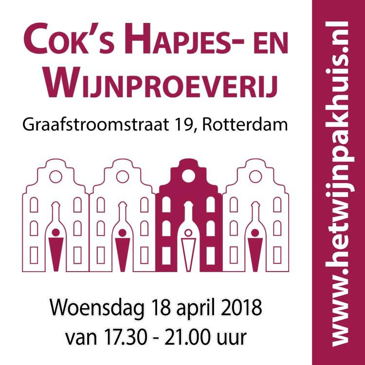 Kaartje Cok's wijn- en kaasproeverij woensdag 18 april 2018