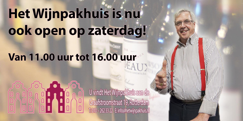 Het Wijnpakhuis open op zaterdag! (maar kijk wel naar de data)
