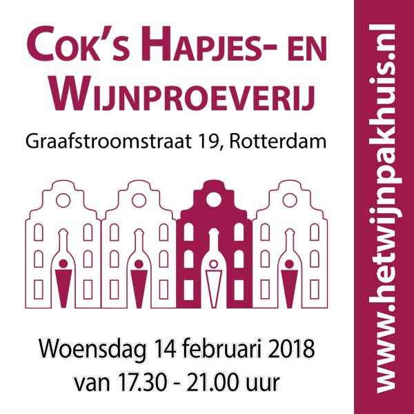 Cok's Kaas- en Wijnproeverij op woensdag 14 februari 2018