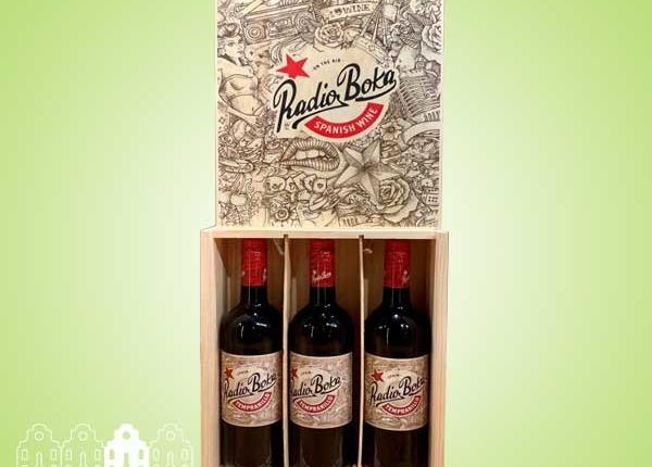 Radio Boka Tempranillo Tinto Castilla - Kist met drie flessen